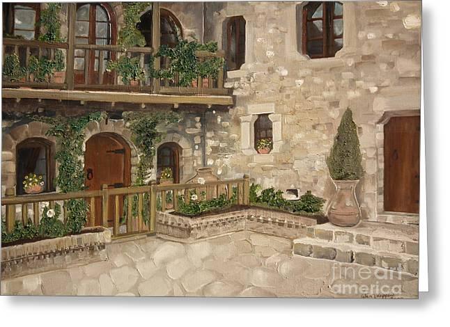 Greek Courtyard - Agiou Stefanou Monastery -balcony Greeting Card by Jan Dappen
