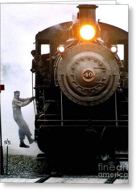 All Aboard The Number 40 At New Hope Pennsylvania Train Terminal Greeting Card