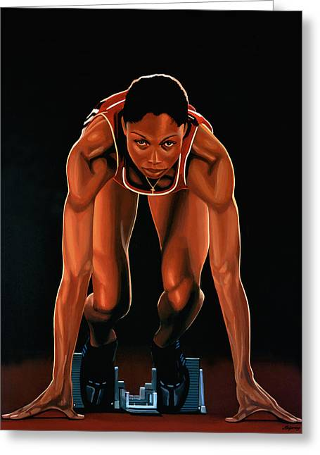 Allyson Felix Painting  Greeting Card by Paul Meijering
