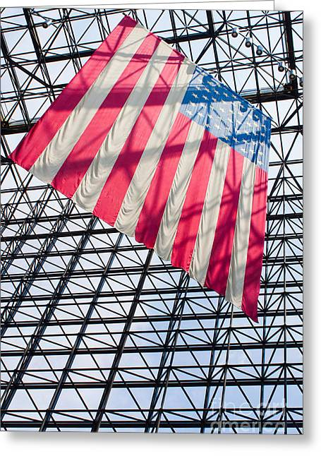 American Flag Hanging In The Atrium Of The John F Kennedy Library In Boston Massachusetts II Greeting Card