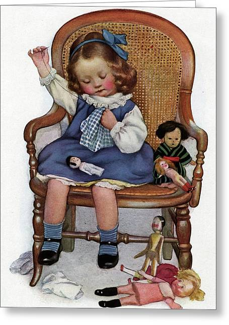 An American Girl Makes New  Clothes Greeting Card