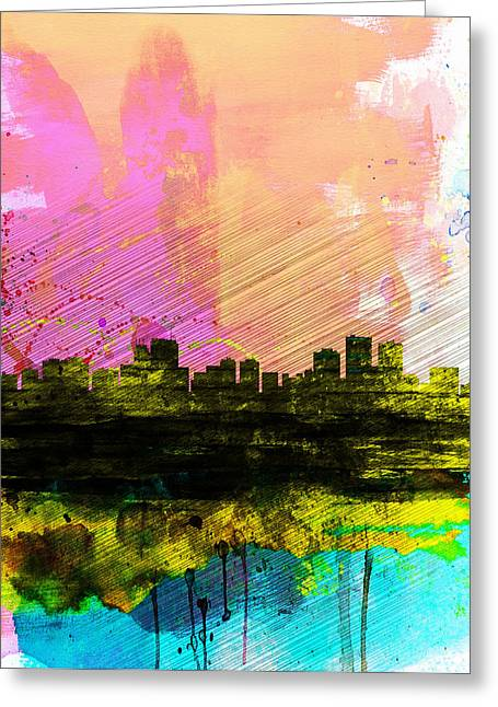 Anchorage Watercolor Skyline Greeting Card