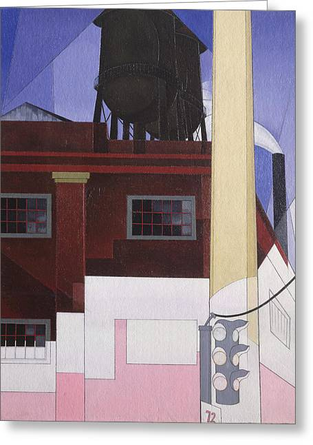 .... And The Home Of The Brave, 1931 Oil On Composition Board Greeting Card by Charles Demuth