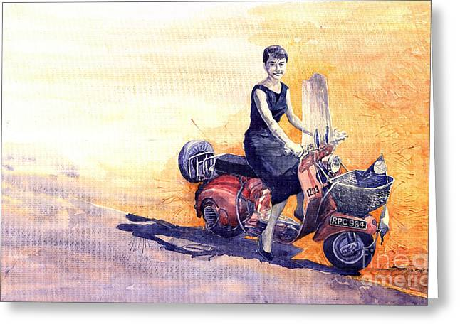 Audrey Hepburn And Vespa In Roma Holidey  Greeting Card by Yuriy  Shevchuk