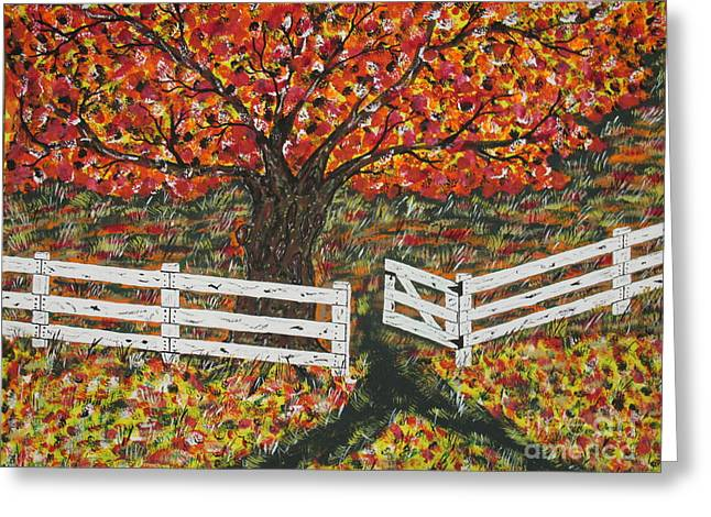 Autumn At The White Fence Farm Greeting Card by Jeffrey Koss