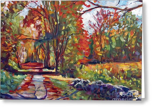 Autumn On The Hudson Greeting Card by David Lloyd Glover