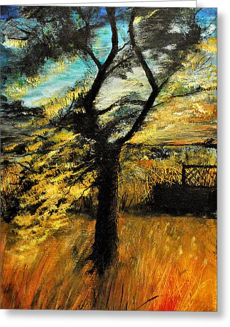 Greeting Card featuring the painting  Autumn Tree by Maja Sokolowska