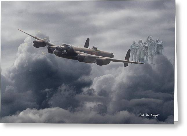 Avro Lancaster - Aircrew Remembrance Greeting Card by Pat Speirs