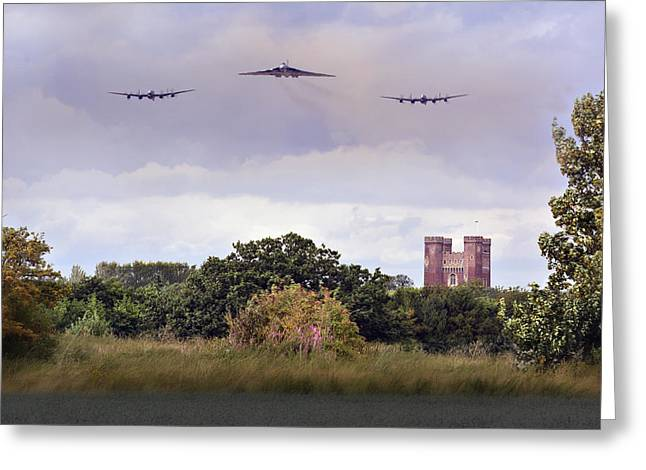 Avro Trio Over Tattershall Castle Greeting Card
