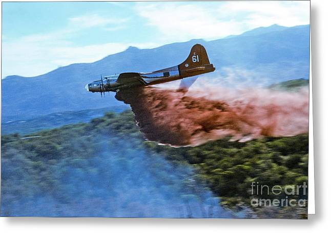 Greeting Card featuring the photograph  B-17 Air Tanker Dropping Fire Retardant by Bill Gabbert