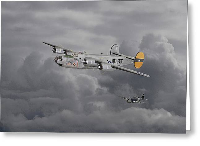B24 Liberator  446th Bomb Group Greeting Card by Pat Speirs