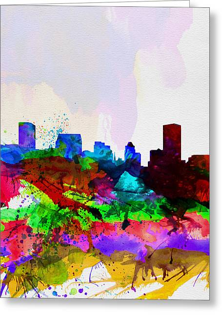 Baltimore Watercolor Skyline Greeting Card