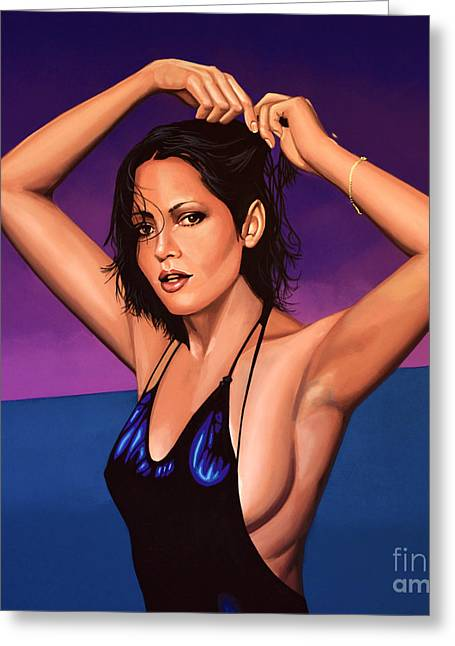 Barbara Carrera Painting Greeting Card by Paul Meijering