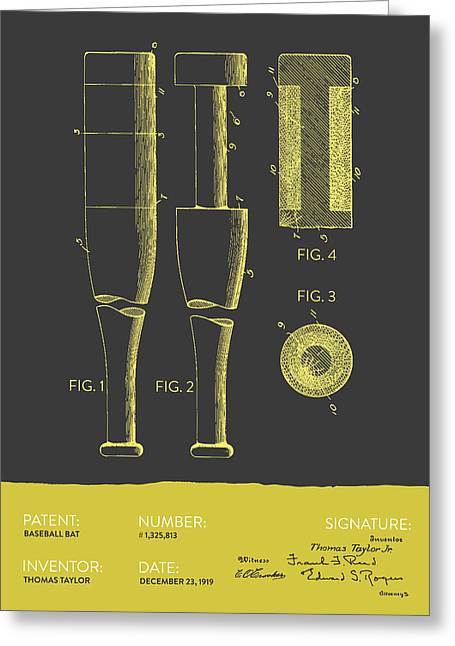 Baseball Bat Patent From 1919 - Gray Yellow Greeting Card by Aged Pixel