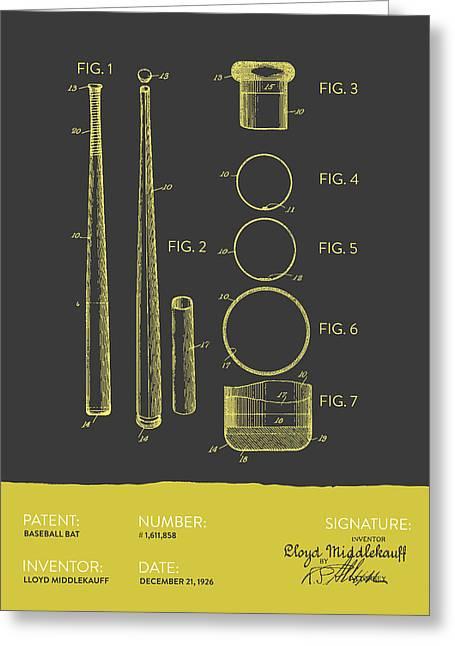 Baseball Bat Patent From 1926 - Gray Yellow Greeting Card