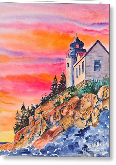 Bass Harbor Light Sunset Greeting Card by John W Walker