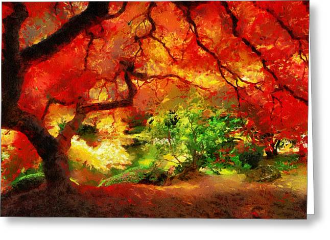 Greeting Card featuring the painting  Beautiful Autumn by Georgi Dimitrov