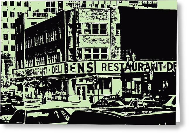 Ben's Resto Delicatessan Lunchtime Crowds And Traffic Jams Vintage Montreal Memorabilia Greeting Card by Carole Spandau