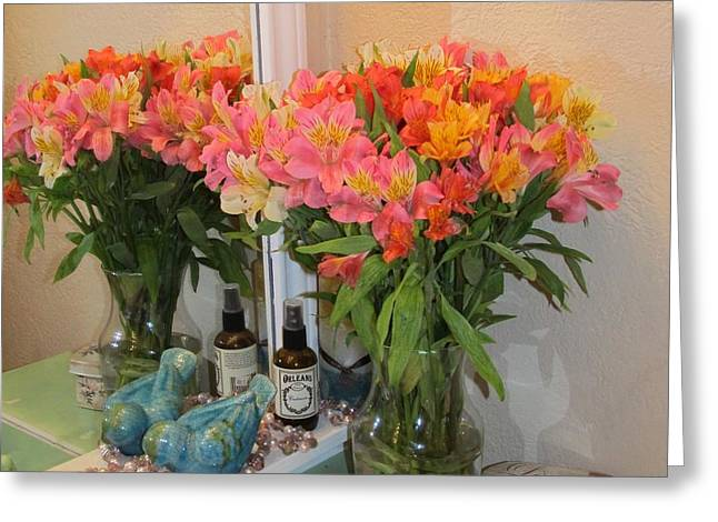 Colorful Flowers Greeting Card by Donna Wilson