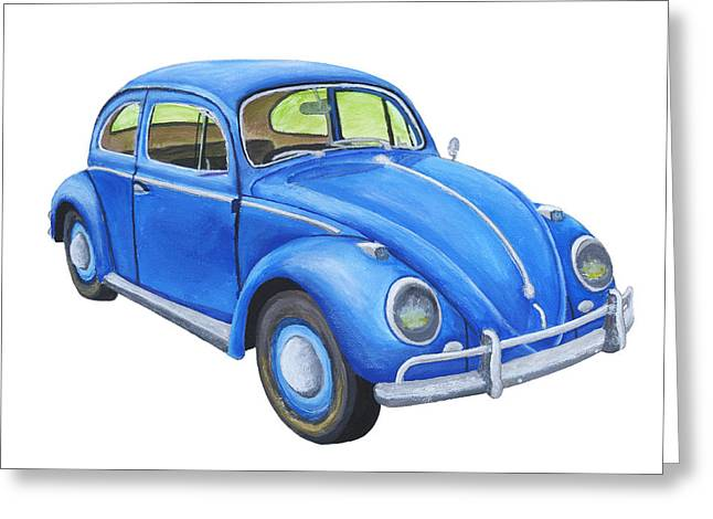 Blue Volkswagon Beetle Painting Greeting Card