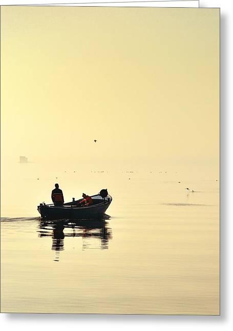 Boat In The Fog Greeting Card by Jan Sieminski