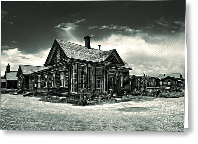 Bodie Ghost Town Panorama 02 Greeting Card by Gregory Dyer