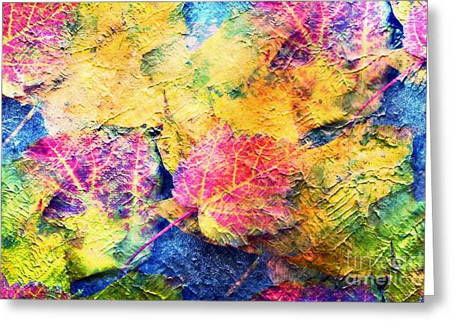 Bright- Colorful Fall Leave Abstract Greeting Card by Judy Palkimas