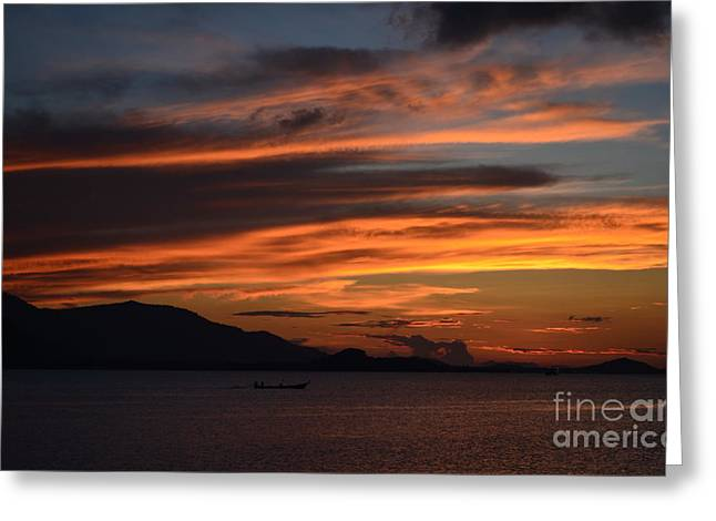 Burning Sky Greeting Card by Michelle Meenawong