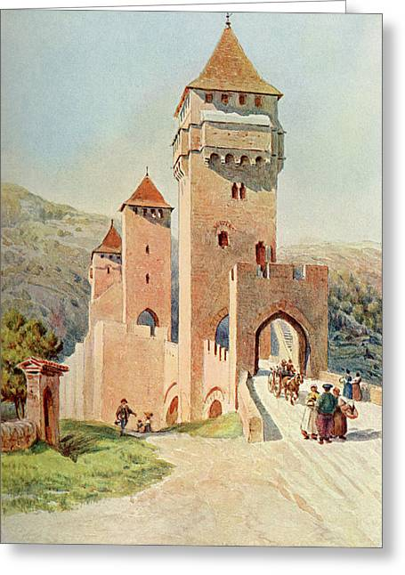 Cahors  Pont Valentre        Date 1904 Greeting Card by Mary Evans Picture Library