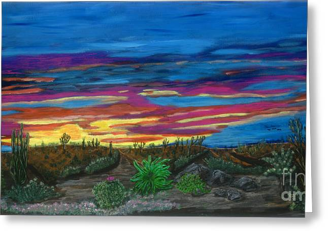 Greeting Card featuring the painting  California Desert Sunset by Gary Brandes