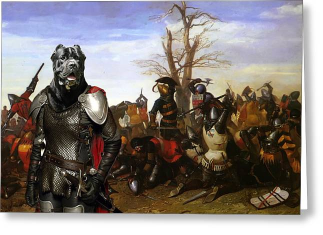 Cane Corso Art Canvas Print - Swords And Bravery Greeting Card