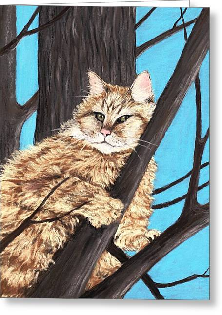 Feline Pastels Greeting Cards -  Cat on a Tree Greeting Card by Anastasiya Malakhova