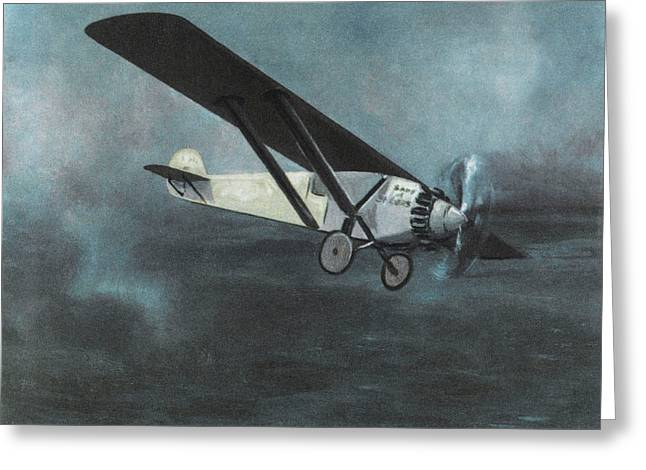 Charles Lindbergh Is The First  To Fly Greeting Card by Mary Evans Picture Library