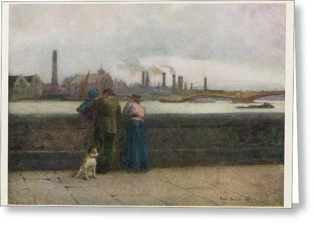 Chelsea Embankment On A Grey Day Greeting Card by Mary Evans Picture Library