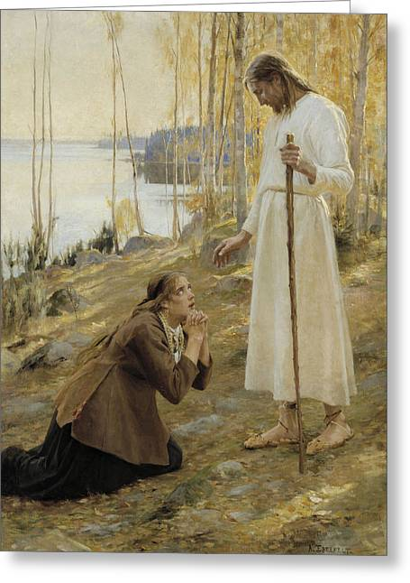 Christ And Mary Magdalene A Finnish Legend Greeting Card by Albert Edelfelt