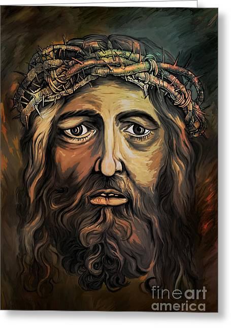 Christ With Thorn Crown. Greeting Card by Andrzej Szczerski