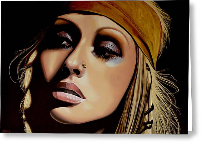 Christina Aguilera Painting Greeting Card by Paul Meijering