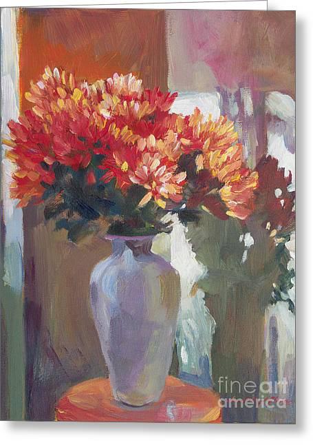 Chrysanthemums In Vase Greeting Card by David Lloyd Glover