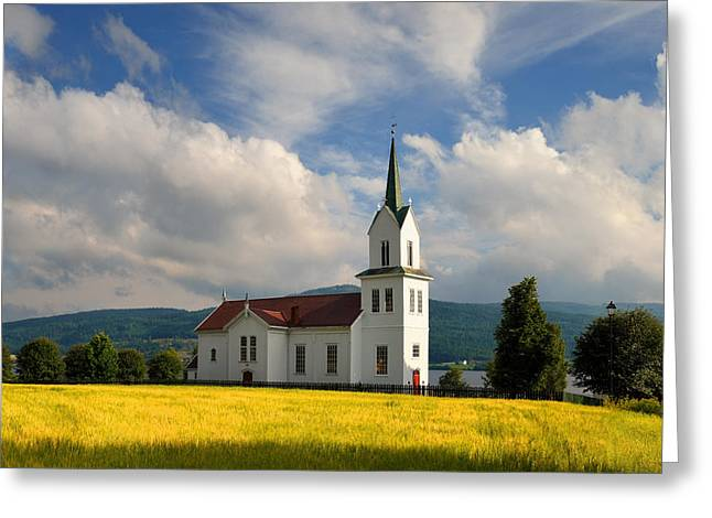 Church In Small Town Of Norway Greeting Card