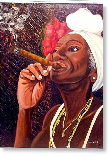 Cigar Lady Greeting Card