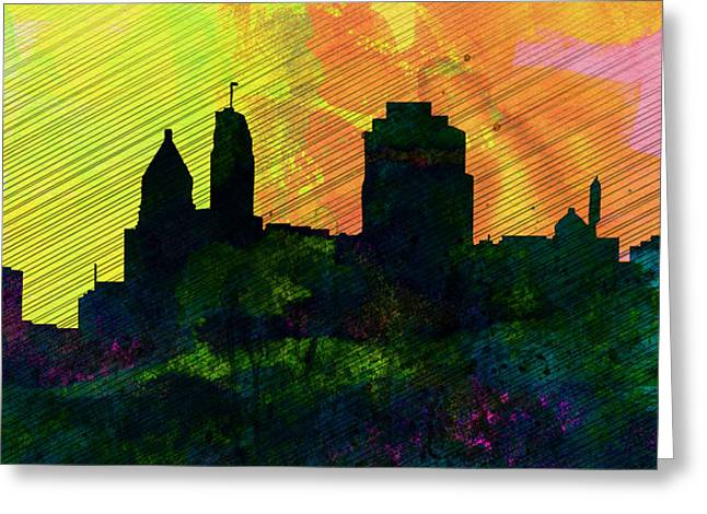 Cincinnati City Skyline Greeting Card by Naxart Studio