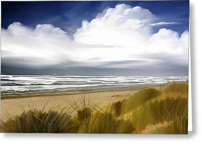 Greeting Card featuring the digital art  Coastal Breeze by Anthony Fishburne