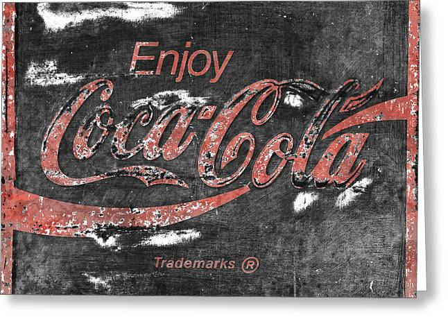 Coca Cola Sign Faded Grunge Greeting Card by John Stephens