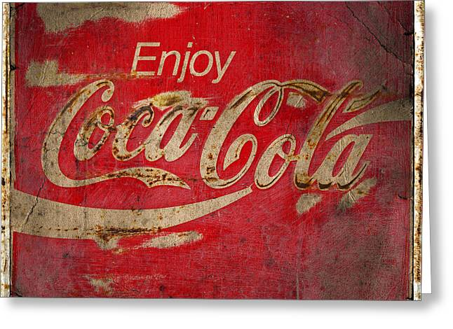 Coca Cola Sign Grungy  Greeting Card