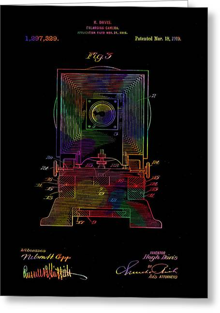 Colorful Retro Camera Patent From 1919 Greeting Card