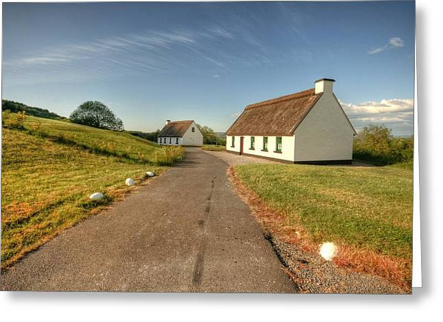 Corofin Thatched Cottages Greeting Card by John Quinn