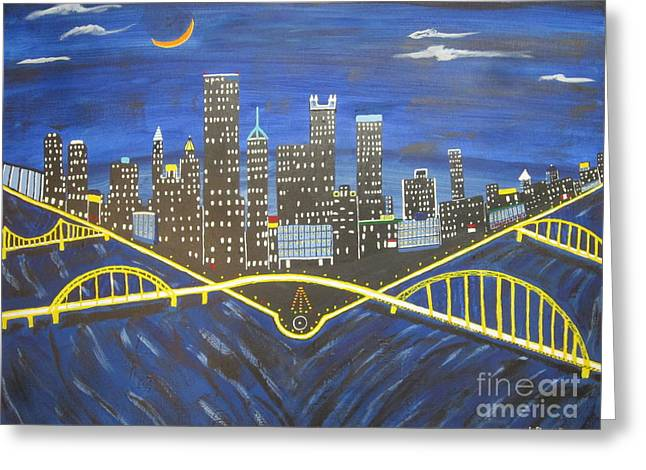 Crescent Over Pittsburgh  Greeting Card by Jeffrey Koss
