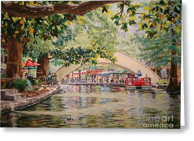 Cruising On The River -riverwalk Greeting Card
