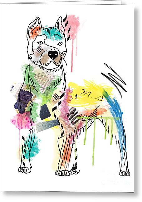 Cute Pit Bull Greeting Card by Mark Ashkenazi