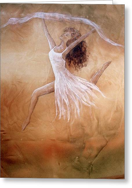 Dancer Leap In Double Attitude Greeting Card